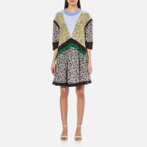 MSGM Women's Rose Print Crepe Dress - Yellow/Multi