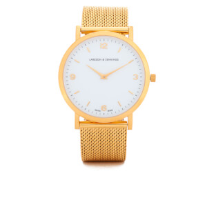 Larsson & Jennings Lugano 38mm Gold Plated Chain Metal Watch - Gold/White/Gold