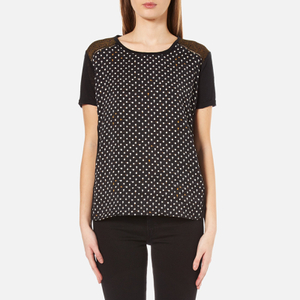 Maison Scotch Women's Relaxed Fit Linen Short Sleeve T-Shirt - Black