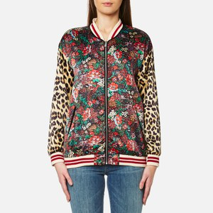 Maison Scotch Women's Silky Feel Print Mixed Bomber Jacket with Lurex Ribs - Multi