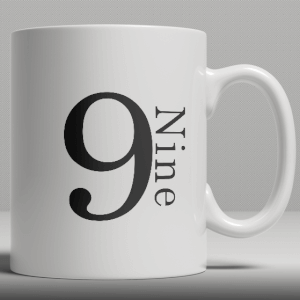 Alphabet Keramik Designer Tasse - Nummer 9