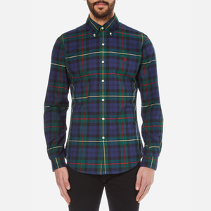 Polo Ralph Lauren Men's Long Sleeved Shirt - Navy/Green
