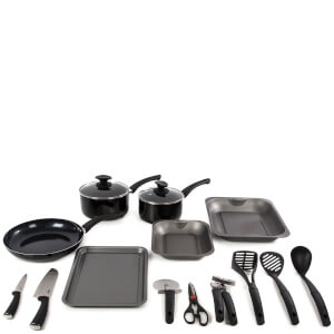 Tower 14 Piece Aluminium Kitchen Starter Set - Black