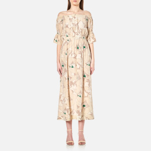 Ganni Women's Grace Silk Long Floral Dress - Biscotti