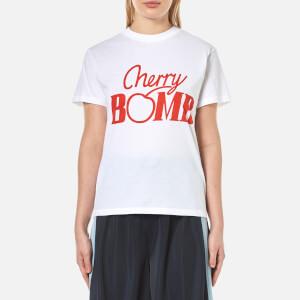 Ganni Women's Harvard Cherry Bomb T-Shirt - Bright White