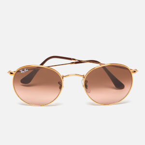 Ray-Ban Round Flat Lenses Bronze Copper Frame Sunglasses - Pink/Brown Gradient