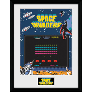 """Space Invaders Screen Framed Photographic - 16"""""""" x 12"""""""