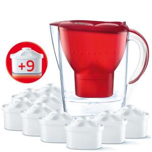 BRITA Marella Cool Water Filter Jug - Red Passion 2.4L (Includes 9 MAXTRA Cartridges)