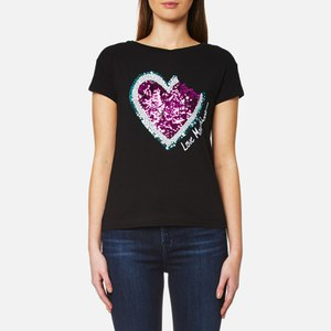 Love Moschino Women's Sequin Heart Bite Logo T-Shirt - Black