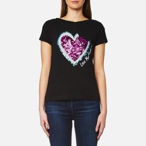 Love Moschino Women's Sequin Heart Bite Logo T-Shirt - Black