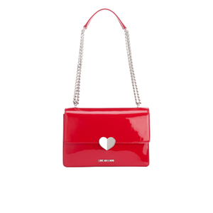 Love Moschino Women's Love Heart Double Chain Strap Shoulder Bag - Red