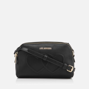 Love Moschino Women's Love Heart Embossed Mini Cross Body Bag - Black