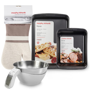Morphy Richards Roast and Bake Tray, Large Oven Tray, Jug Scale and Set of 2 Oven Mitts
