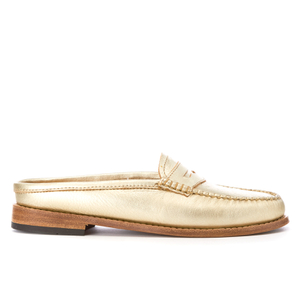 Bass Weejuns Women's Penny Slide Leather Loafers - Gold Textured