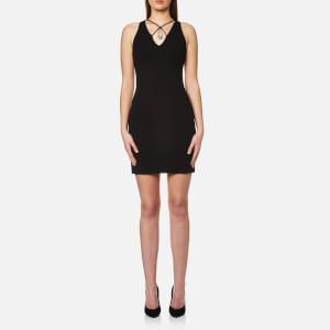 Versus Versace Women's Jersey Crossover Front Dress with Safety Pin - Black