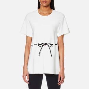 Alexander Wang Women's Peplum T-Shirt with Leather Drawstring Cord - White