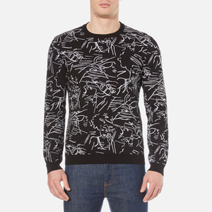 KENZO Men's All Over Jaquard Knitted Jumper - Black