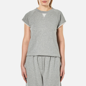 T by Alexander Wang Women's Soft French Terry Cap Sleeve Raglan Sweatshirt - Heather Grey