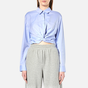 T by Alexander Wang Women's Cotton Twill Twist Front Long Sleeve Shirt - Chambray