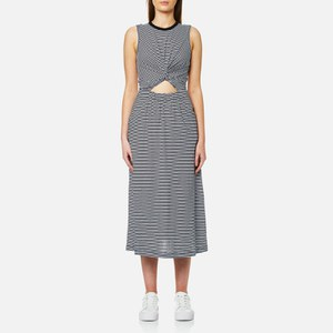 T by Alexander Wang Women's Stripe Cotton Jersey Front Twist Muscle Dress - Black/White