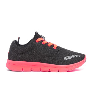 Superdry Women's Scuba Runner Trainers - Black Grit/Fluro Coral