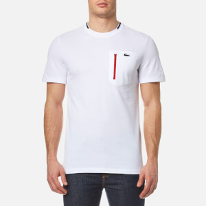 Lacoste Men's 'Made in France' Pocket T-Shirt - White/Red-Ship