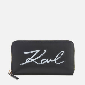 Karl Lagerfeld Women's K/Metal Signature Zip Wallet - Black