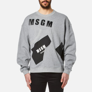 MSGM Men's Print Detail Sweatshirt - Grey