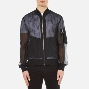 MSGM Men's Fabric Detail Bomber Jacket - Black
