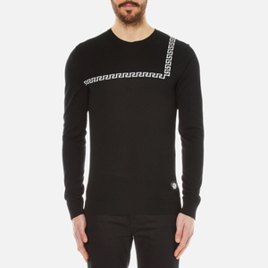 Versus Versace Men's Crew Neck Jumper with Baroque Print Detail - Black