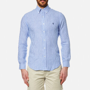Polo Ralph Lauren Men's Stripe Slim Fit Long Sleeve Linen Shirt - Blue