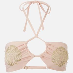 MINKPINK Women's Golden Hour Ruched Halter Bikini Top - Nude/Gold