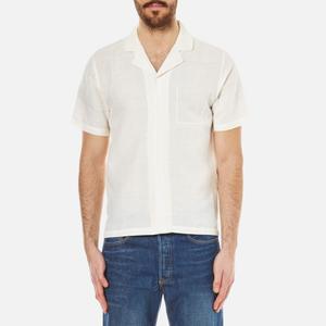 Folk Men's Linen Cuban Collar Shirt - White