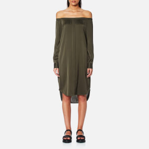 DKNY Women's Long Sleeve Off the Shoulder Dress - Military