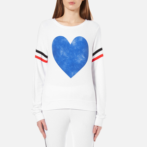 Wildfox Women's Classic Heart Baggy Beach Jumper - Clean White