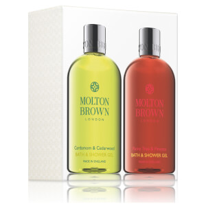Molton Brown Cardamon & Cedarwood and Flametree & Pimento Bath and Shower Gel Set