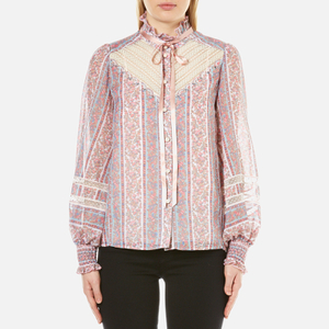 Marc Jacobs Women's Semi Embellished Button Down Blouse - White/Multi