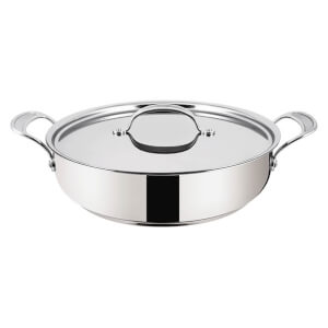 Jamie Oliver by Tefal Stainless Steel Non-Stick Shallow Pan with Lid - 30cm