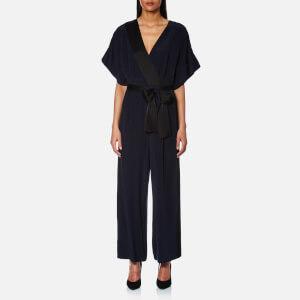 Diane von Furstenberg Women's Short Sleeve Wrap Jumpsuit - Alexander Navy/Black