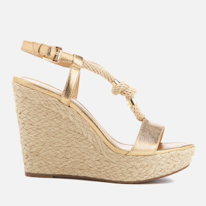 MICHAEL MICHAEL KORS Women's Holly Rope Strap Wedged Sandals - Pale Gold