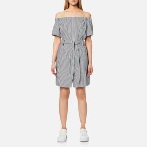 House of Sunny Women's Cold Shoulder Short Sleeve Shirt - Striped Poplin