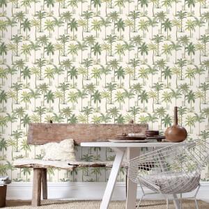 Fresco Palm Tree Print Green Wallpaper