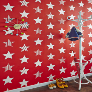 Superfresco Easy Kids' Superstar Star Print Red Wallpaper