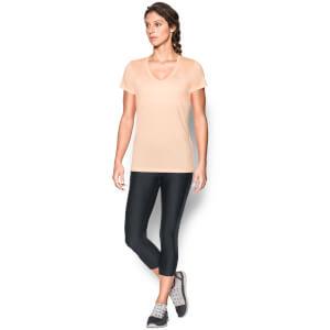 Under Armour Women's Twist Tech V Neck T-Shirt - Playful Peach/Metallic Silver