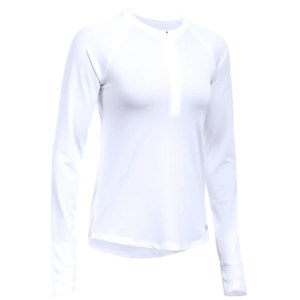 Under Armour Women's Fly By 1/2 Zip Run Long Sleeve Top - White