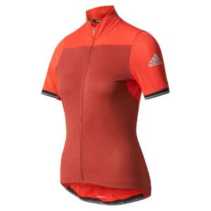 adidas Women's Climachill Short Sleeve Jersey - Red