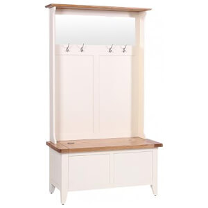 Vancouver Expressions Linen Storage Bench with Coat Rack & Mirror