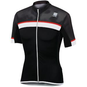Sportful Pista Short Sleeve Jersey - Black/White/Red