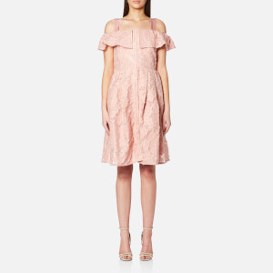 Perseverance Women's Floral Cotton Fil Coupe Cut Out Shoulder Dress - Dusty Pink