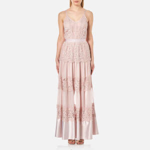 Perseverance Women's Scallop Cotton Lace Panelled Strappy Maxi Gown - Dusty Pink